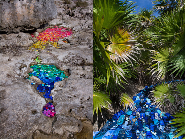Washed Up, a photo series by Alejandro Duran, examines the final resting place of much of our plastic garbage when it makes its way to the ocean.  Due to particular ocean currents, most of it ends up along the shores of Sian Ka'an which is ironically Mexico's largest federally-protected reserve. Alejandro Duran via NOTCOT