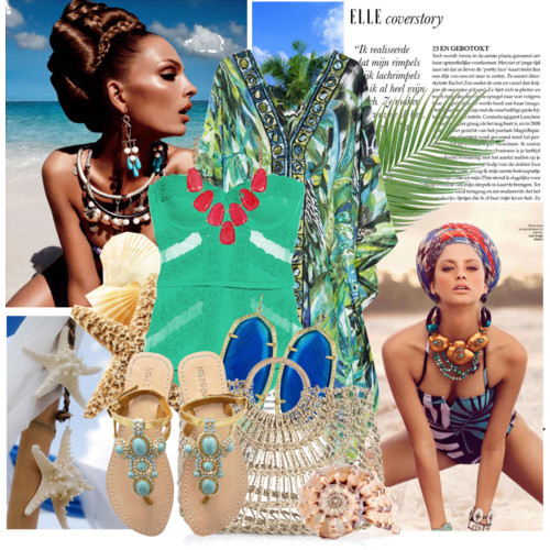 shells and kaftans by laylay featuring a bikini swimwear
