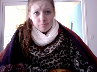 It's so cold I'm wearing two blankets over my Snuggie.Dad still holds the belief that if he isn't cold, no one can be.Brrr.