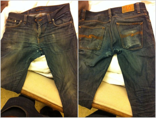 Nudie Slim Jims 12 months wear 1 hot soak @ 11 months woodlawnpacific.tumblr.com