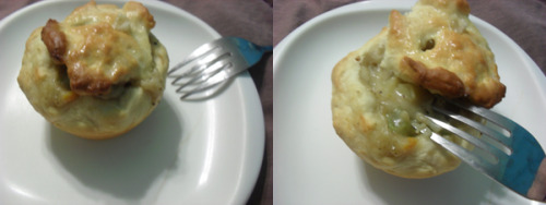 "Miniature pot pies! Made in a muffin tin.I used biscuit dough for the ""crust"" and the stew inside is a chicken broth gravy, potatoes, celery, and carrots. I cut everything super tiny haha it took me like two hours just to cut vegetables. Seasoned with salt, celery salt, sage, and pepper!"