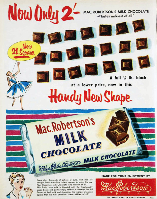 Now only 2 shillings! MacRobertsons chocolate. 1955.