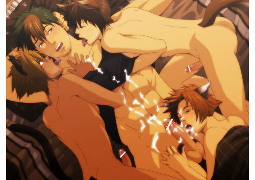 fuckyeahhardcoreyaoi:  Beautiful kitty boys serving their master, haha.