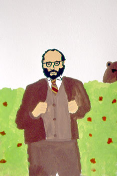 Umberto Eco with Bear, Gordon Lester (2003, Gouache on paper)