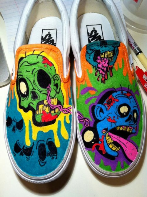 A pair of white Vans slip ons that my co-worker asked me to draw on for him. He is a huge zombie fan, so i figured this would be appropriate. He was happy, so i'm happy.