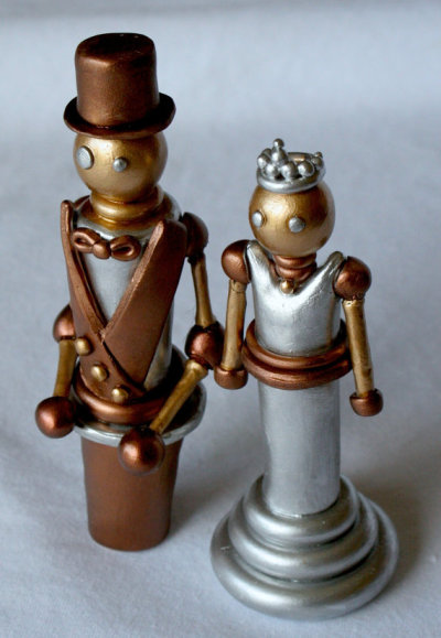 """Industrial"" Steampunk Metal Bride and Groom Wedding Cake Topper by ElegantDesignsByNat"