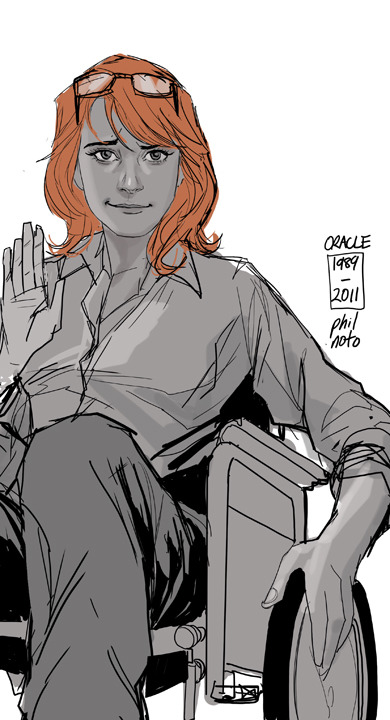 philnoto:  Oracle 1989-2011 - My first job in comics was creating covers for DC's Birds of Prey and and over the the course of 24 issues I drew this lovely lady a lot. And then I did some brief interior work on the Cassandra Cain Batgirl and finally did the first run of covers for the Stephanie Brown incarnation. They've all been great Batgirls much like Steed's partners in the Avengers. I've done numerous pieces of Babs as Batgirl more so for the retro iconography and the aesthetic look of the black, yellow and red then her actual persona as Batgirl. Honestly in terms of fictional characters, I always just considered her to be Oracle. I, like many others, am very sad her to see her go, but if there's anyone to keep her spirit alive as Batgirl once again.