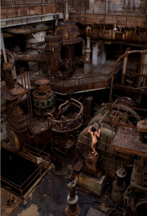 "Miru Kim - Naked City Spleen  http://mirukim.com ""Richmond Power Station, Philadelphia, PA, USA #2  Looking down from the level where the giant turbo-generators lie dormant, I could see an impressive cluster of smaller machineries that I could not identify. As I tried to imagine how they used to function, the rusty machines seemed to come alive. They then reminded me of the Dada portrayal of people as machines."""