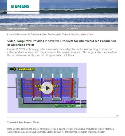 Chemical-free water? Innovative, indeed!  (Seriously, Siemens: You should know better.)