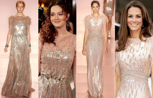 tallgirltales:  Blair & Kate: Not the Same Jenny Packham Dress While similar looking and both from the Spring 2011 RTW collection, Blair's dress was look #27 and Kate's was look #21.  PRINCESSSSSSSSSS.