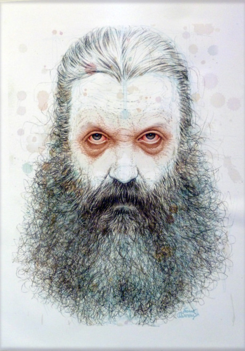 Alan Moore, by Frank Quitely. It was on display at Rosario Gallery and if you check beard on the large version of the image, you'll notice the names of all Alan's projects. Crazy. Frank Quitely has been one of my favorite artists for years. Ugh. So good. [Via CB Cebulski]