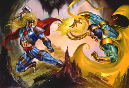 premiumcountryside:  Thor vs. Loki by Julie Bell (1996)  I know it's not Hemsworth and Hiddleston, but it is pretty cool, right?