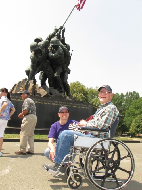 "No Marines came on the Hero Flight, but the Iwo Jima Memorial for Marines had special meaning for Leslie McCormick of Brewster. One of his best friends, Walt Patterson, served in Iwo Jima. The two became acquainted after their service time. They lived near each other when McCormick was working on a ranch. Patterson told McCormick about the Iwo Jima memorial, but Patterson died before he had a chance to visit it.  ""It kind of tore me up"" to see the monument, McCormick said. ""…It was something I wanted to do for him. It made me feel good."""
