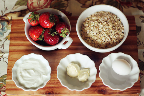 Ingredients for Strawberry Shortcake Muffins by Dashing Dish