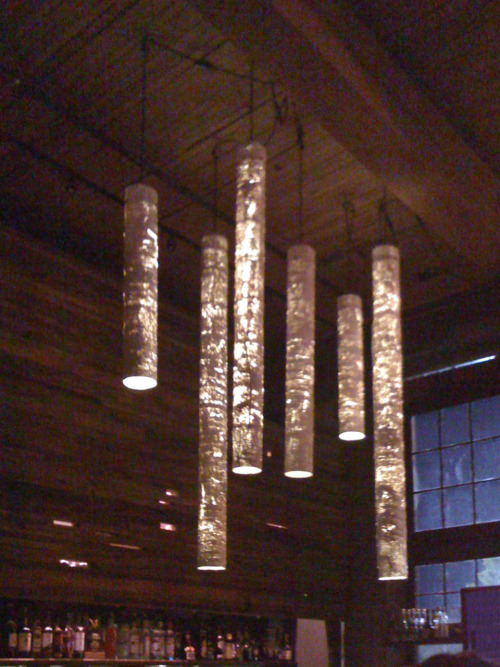 Cool light installation @ Seattle's Rockbox on Capitol Hill.  Check it out - I think it's some kind of pipe insulation.  Also the best place to karaoke :)
