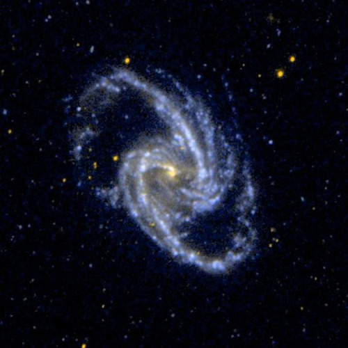 spacettf:  Barred Spiral Galaxy NGC 1365 by NASAJPL on Flickr. Via Flickr: Ultraviolet image of the barred spiral galaxy NGC 1365, which is a member of the Fornax Cluster of Galaxies. NASA, JPL