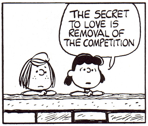 heyoscarwilde:  Love is a Battlefield illustration by Charles M. Schulz :: scanned from Speak Softly and Carry a Beagle :: Holt Rinehart and Winston :: 1974