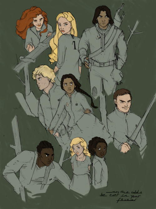 "Fan art of characters the Hunger Games. From left to right, top to bottom, we have: Foxface, Glimmer, Gale, Peeta, Katniss, Cato, Thresh, Prim, and Rue. Text at bottom reads: ""May the odds be ever in your favor."""