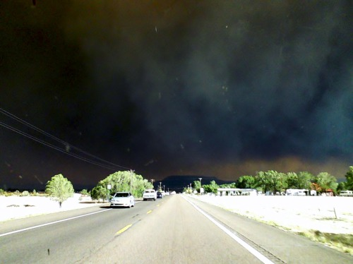 Tuesday June 7th, 2011…driving into Eagar/Springerville AZ Wallow Fire wildwestcorgis