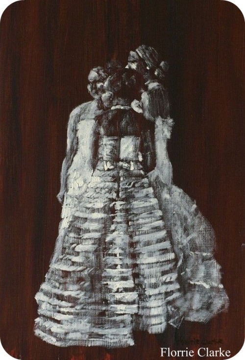 Debutante Trio. Florrie Clarke 2011. Oil on oil painting paper. Was exhibited in Staffordshire Open Art Exhibition 2011. Now on display at R N Clarke Fine Art Gallery.
