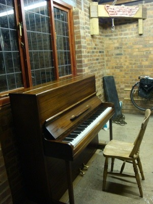 Today I bought a piano for £25. It lives in the garage. Tomorrow, I am going to live in the garage.