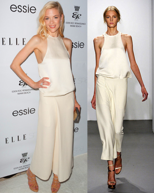 Trop classe elle:  Jamie King has been looking particularly stylish lately. Check her out in this Calvin Klein spring 11 look at the opening of the ELLE Spa in Miami last night! Photo: courtesy of Calvin Klein