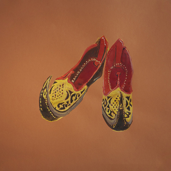 Ranu Mukherjee, Rajasthani Gypsy Shoes, Dr. Gabrielle Francis (2011). Ink on colored paper. 19 5/8 x 19 5/8 in. Image courtesy of the artist and Frey Norris Contemporary & Modern. (via Daily Serving » Nomadic and Luminous: Ranu Mukherjee at Frey Norris)