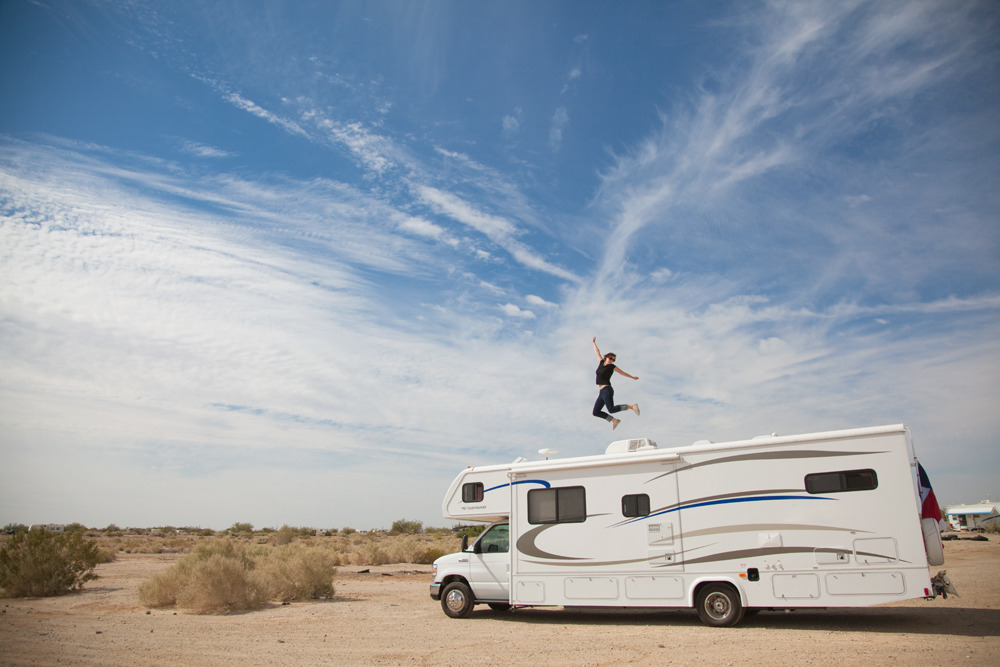 laurenlemon:  Steph Goralnick jumps on top of the LARV parked in Slab City, at our first stop on our roadtrip. Follow the Phoot Camp blog on Tumblr to see everyone's work. ©Lauren Randolph