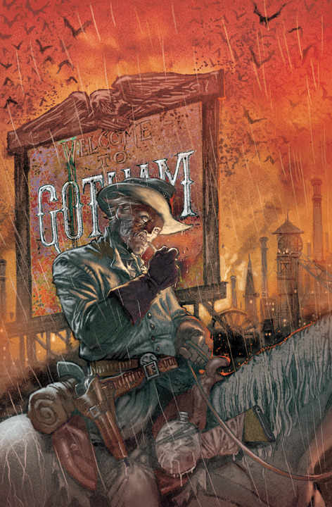 DC Comics - Welcome To The Edge - Warfare Past and Present: All-Star Western #1 by Justin Gray and Jimmy Palmiotti and  Moritat  Even when Gotham City was just a one-horse town, crime was rampant – and   things only get worse when bounty hunter Jonah Hex comes to town. Can   Amadeus Arkham, a pioneer in criminal psychology, enlist Hex's special   brand of justice to help the Gotham Police Department track down a   vicious serial killer? Featuring back-up stories starring DC's other   western heroes, ALL-STAR WESTERN #1 will be written by the fan-favorite   Jonah Hex team of Justin Gray and Jimmy Palmiotti and illustrated by   Moritat.