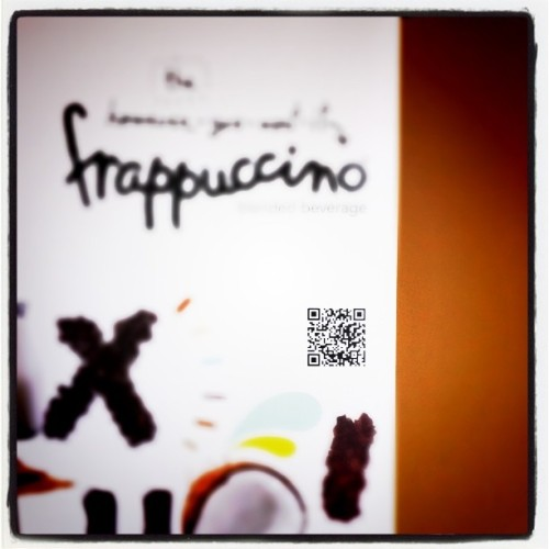 Seen @ Starbucks: QR codes and a dash of mystery… The QR code points to a form of scavenger hunt!