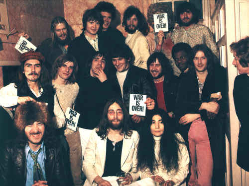 "john lennon and friends at his ""war is over"" bash, 1969."