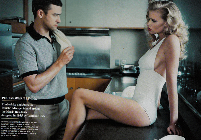 Lara Stone stars alongside Justin Timberlake for the Latest issue of Vanity Fair - photographed by Norman Jean Roy.