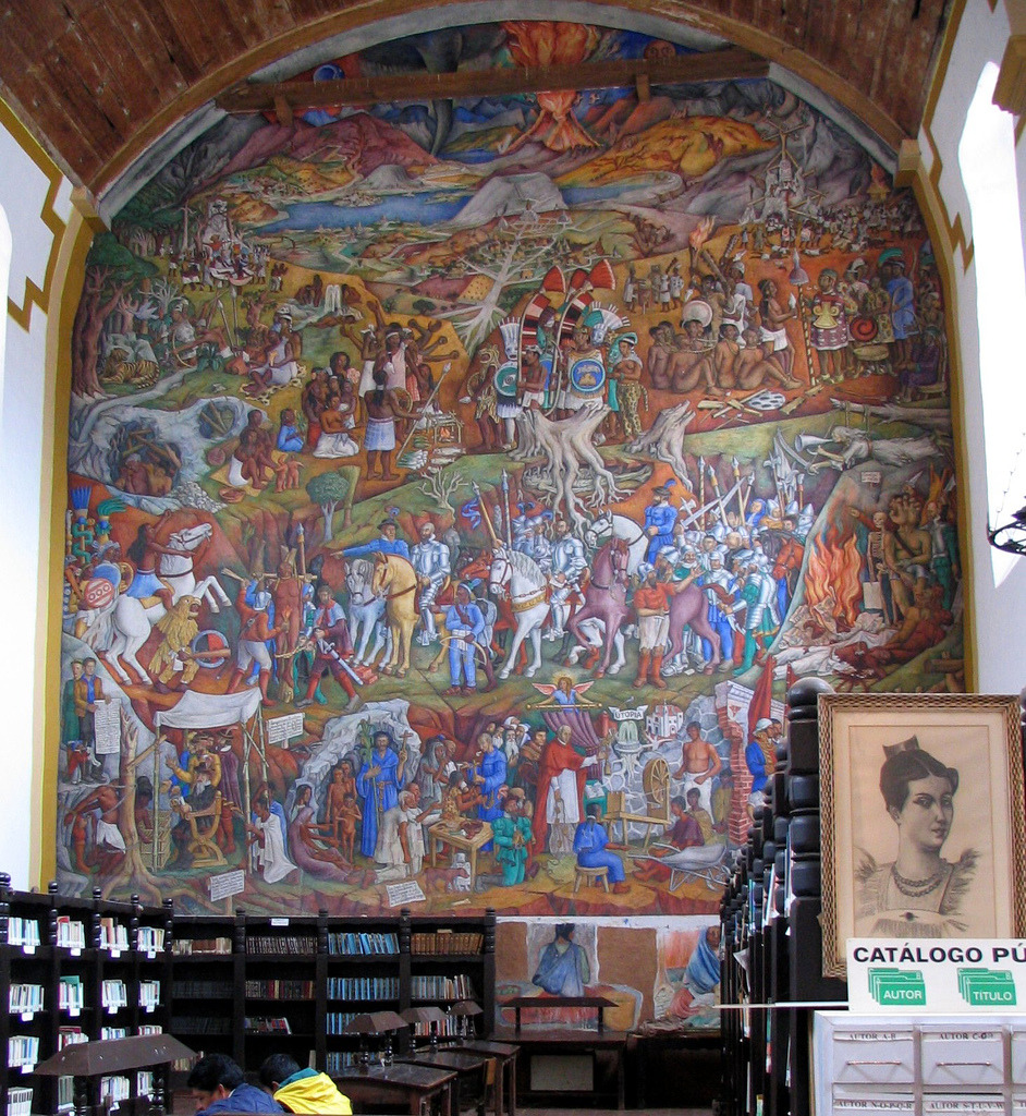 The Library in Patzcuaro  Mural painted by  Juan O'Gorman  photo by eperales