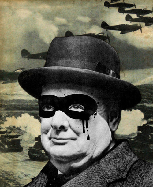darksilenceinsuburbia:  Famous When Dead. Churchill. Born in 1980 and raised in the industrial pottery town of Stoke on Trent, Staffordshire. Interested in art from a very early age, Andrew adopted the alias of Famous When Dead in 2005. Although self-taught as an artist, he did study graphic design and illustration up-to university level.Andrew still currently resides in Staffordshire and works from his home studio that he shares with his wife and three young children. http://www.famouswhendead.com