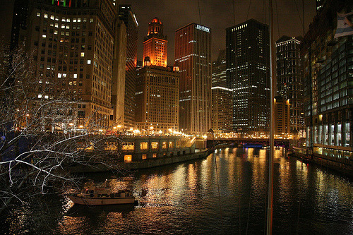 Chicago Skyline & River, Night (by Bill in DC)