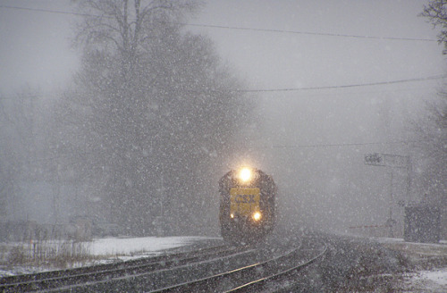 Outbound in the Snow on Flickr.A freight train pulls out of Berea, Ohio 2007
