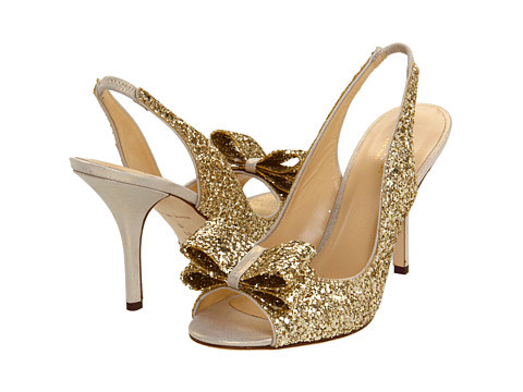Kate Spade Gold Glitter Heels. Love these!