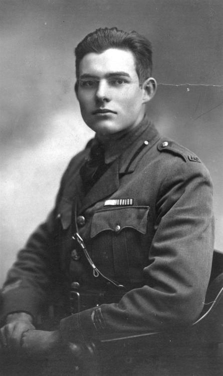 A young Ernest Hemingway in his uniform in 1918 Milan- where he drove ambulances. Oh Ernest, now that I see how hot you were, it makes me wish I actually liked your writing.