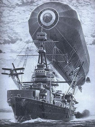 Floating Mooring Mast (by lazzo51) From Popular Science Apr, 1923 CONVINCED  that battle fleets of the future will require the aid of rigid airships  as long range scouts, aeronautic experts recently have suggested an  ingenious method of mooring rigids to the mast of a moving depot ship at  sea, as pictured above.