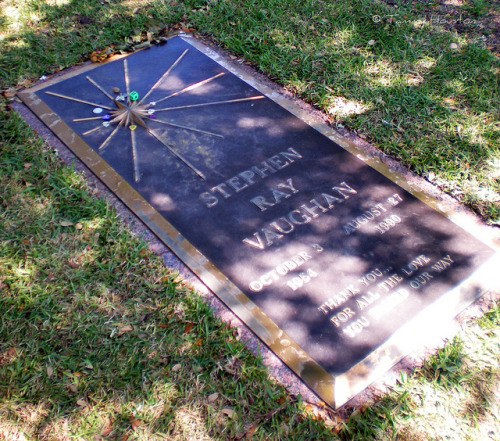 Stevie by tammybeck on Flickr. The grave of Stevie Ray Vaughan.