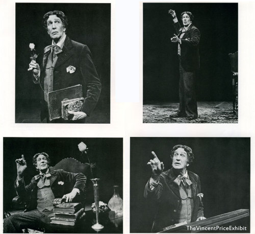 Vincent Price as Oscar Wilde in Diversions and Delights, a play written by John Gay based on the life and works of Wilde (click image for source). Price gave 800 performances onstage in 300 cities as Oscar Wilde, touring all over the world. As far as I know, the enactment was sadly never committed to film. However, live audio recordings were made and can be listened to here: Act I | Act II I've just finished listening to Act I, and Vincent Price is in his element as Oscar Wilde; that he truly relished the opportunity of articulating the wit and brilliance of the Irish poet and playwright is evident in the joy and gusto of his performance.