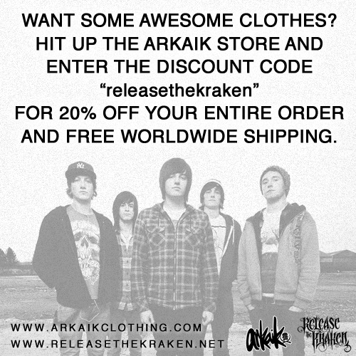"releasethekrakenuk:  Use the discount code ""releasethekraken"" at the checkout for 20% off your entire order and free worldwide shipping!"
