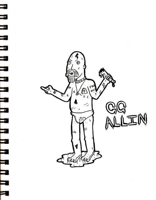 GG Allin I love how he turned out! Tomorrow: Scott Weiland (I'm scared to draw him, pretty people are much harder to draw for me!)