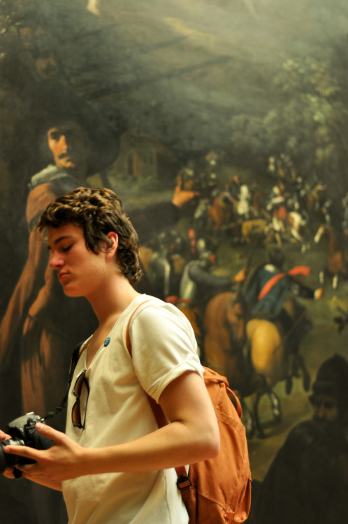 """Follow me Denon,"" says the man in the painting. ""Piss off guy,"" says Denon. This all takes place at the Metropolitan Museum of Art in New York City  P.S. This is Denon's favorite http://www.youtube.com/watch?v=S3Ucz3aluoA"