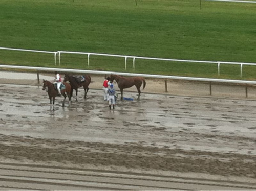 Ripples n Waves provides gruesome scene at Belmont. Front left dangling. Tarp is out