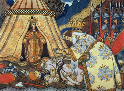 fyeahartnouveau:  Tsar Dadon meets the Shemakha queen Ivan Bilibin; watercolour, paper on cardboard; 1906. - 'Behold, the curtains part On the tent… The prize of maidens, Queen of Shamakhan, in radiance Lambent like the morning star, Quietly salutes the Tsar. Silenced by her brilliant gaze Like a nightbird by the day's, Numb he stands - her sight outstuns Aye! the death of both his sons.' -Pushkin, The Tale of the Golden Cockerel