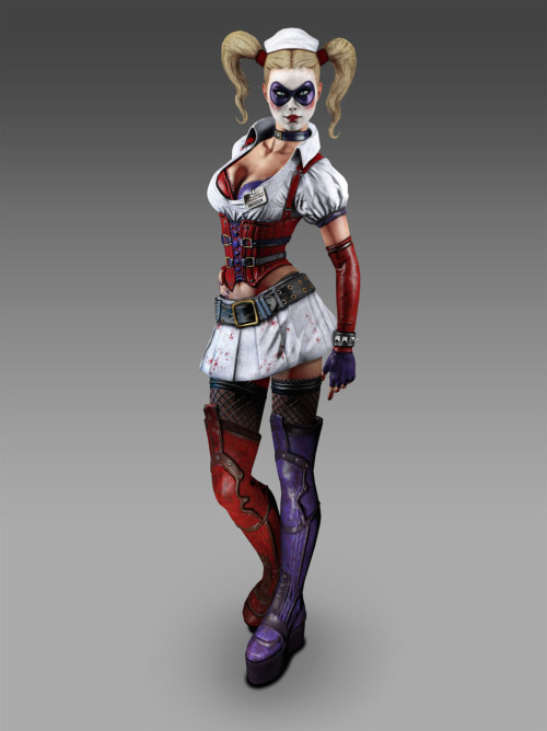 This is Harely Quinn from the video game, Arkham Asylum. Hmm, she is a little different, but I never take costume changes from video games seriously. Her personality seems the same in the game. You can watch a video of a cut scene from Arkham Asylum where she interacts with Posion Ivy here.