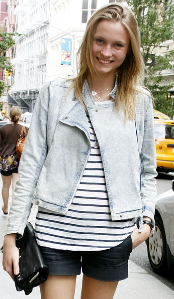 Charlotte di Calypso is tres chic in her Sandro striped top and to-die-for vintage bleached denim jacket.