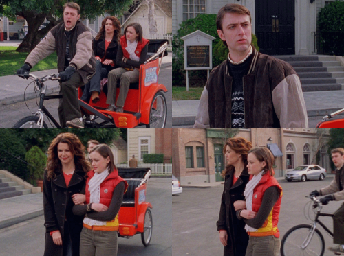 RORY: This is humiliating.LORELAI: Oh, no, we passed humiliating two minutes ago.RORY: Luke's gonna be completely out of doughnuts by the time we get there. […]KIRK: How we doing back there?RORY: We're doing fine, Kirk.KIRK: I figure this baby's gonna be a real money…LORELAI: A real money- moneywhat, Kirk?RORY: Kirk, can you breathe? [Kirk gasps for breath.]LORELAI: Talk to us.RORY: Hit the handlebars three times if you can breathe and two if you can't. [He hit once.]LORELAI: What does once mean?RORY: That he couldn't make it to twice?LORELAI: Kirk. Kirk, stop, please.KIRK: Just for a second. Then we'll be on our way… like the wind.LORELAI: Okay, you know what, Kirk? This has been really fun, but I think we'll just hoof it the rest of the way.KIRK: But the ride wasn't over yet.RORY: Yeah, but we don't want to hog the cab.LORELAI: 'Cause there's only one.RORY: But we'll tell our friends.KIRK: What was wrong with the ride?LORELAI: Uh, nothing. I mean, it's great for tourists who are new to the town and want to make sure they don't miss a thing.KIRK: I wasn't going that slow.LORELAI: No, you just maybe need a little more training before tourist season kicks in. You know, take a spinning class or buy some legs.RORY: Sorry, Kirk.KIRK: You will be sorry. [Calling after them] You'll be sorry you turned down the chance to ride in Stars Hollow's first…RORY: Now he's gonna hate us forever.LORELAI: No, he's not. He's just gonna hate us till something shiny comes by.KIRK: [Riding past them with ease] Well, well, well. I guess it wasn't me that was slowing things down. I guess it was my big, fat cargo.RORY: Hey!KIRK: Freshman 15!LORELAI: Kirk!KIRK: Can't wait to get my doughnut!LORELAI: Stay away from my doughnut, Kirk! I mean it! It's my doughnut! Freak!