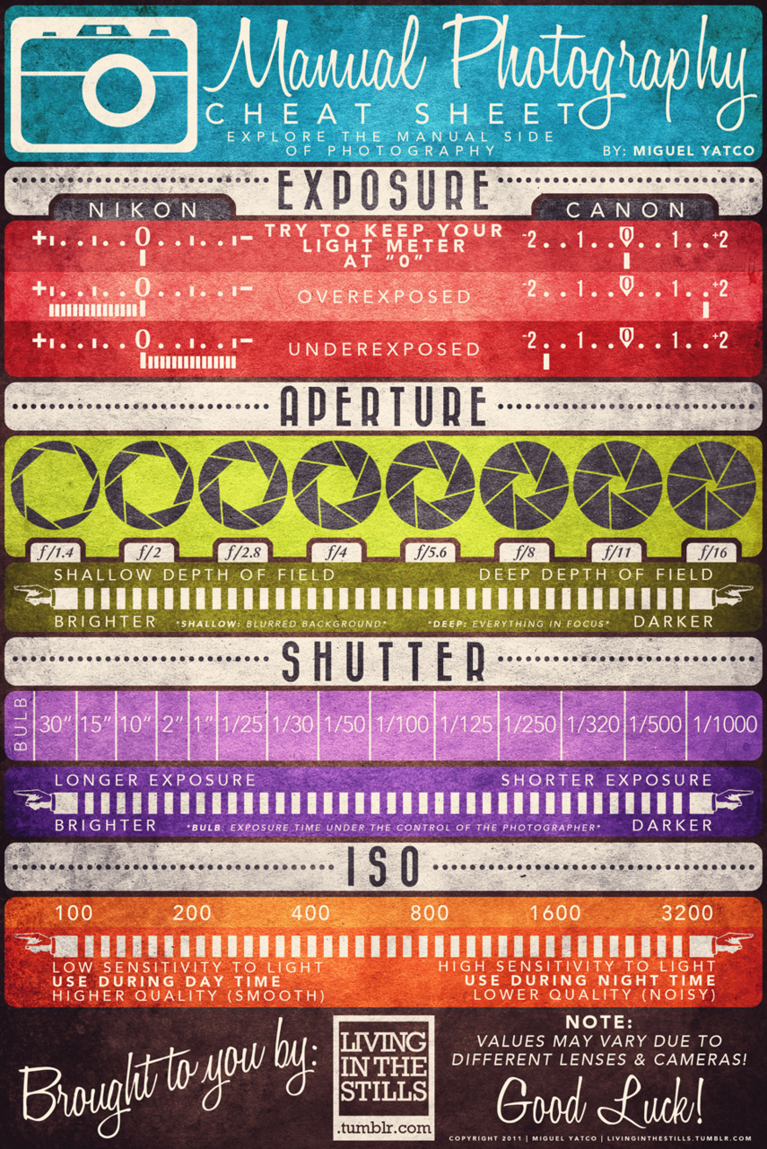 laughingsquid:  Manual Photography Cheat Sheet
